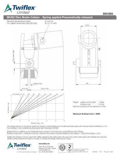 DS1003 MUS2 Disc Brake Caliper - Spring applied Pneumatically released