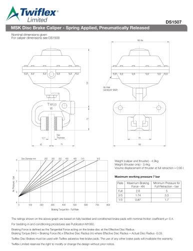 DS1507 MSK Disc Brake Caliper - Spring Applied, Pneumatically Released