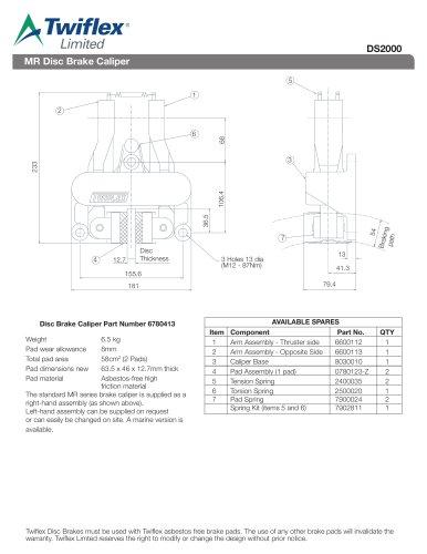 DS2000 MR Disc Brake Caliper