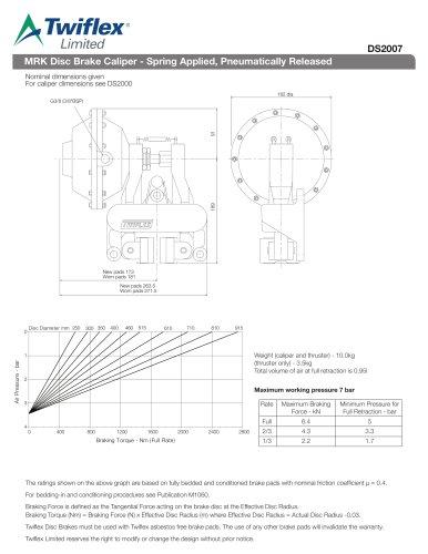 DS2007 MRK Disc Brake Caliper - Spring Applied, Pneumatically Released
