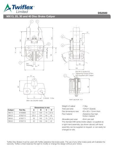 DS2500 MX13, 25, 30 and 40 Disc Brake Caliper