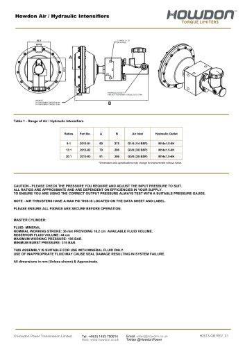 Howdon Air / Hydraulic Intensifiers
