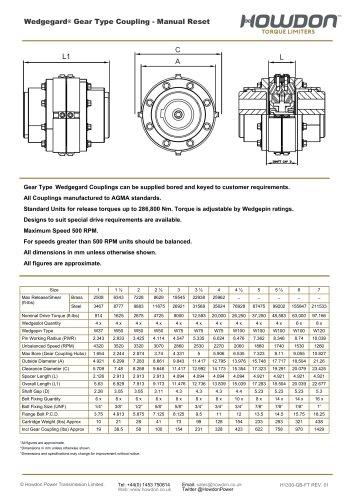 Wedgegard® GEAR Type Coupling (ft-lb)