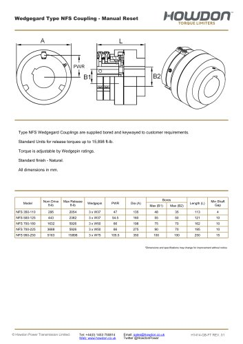 Wedgegard® NFS Coupling (ft-lb)