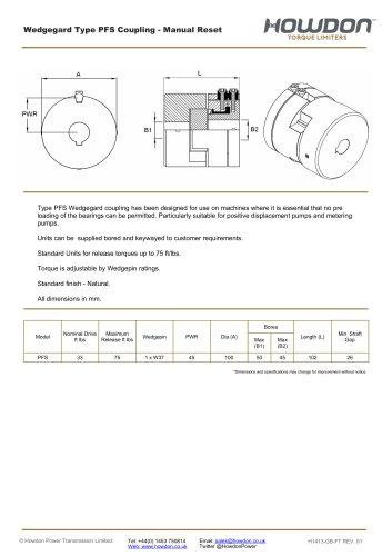 Wedgegard® PFS Coupling (ft-lb)