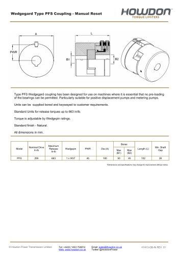 Wedgegard® PFS Coupling (in-lb)
