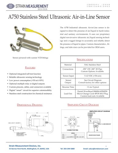 A750 Stainless Steel Ultrasonic Air in Line Detector