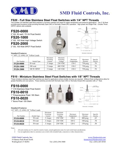 """FS20 - Full Size Stainless Steel Float Switches with 1/4"""" NPT Threads"""