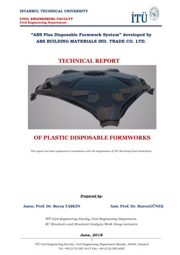TECHNICAL REPORT OF PLASTIC DISPOSABLE FORMWORKS