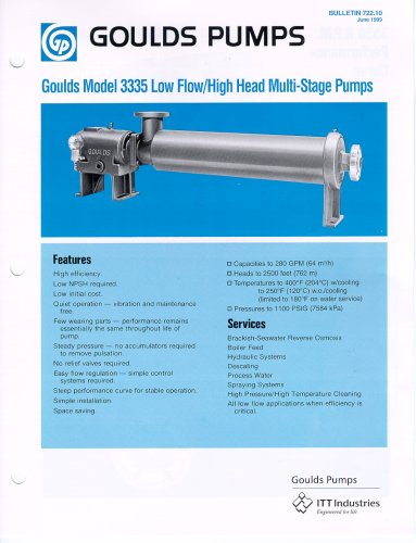 Multi-stage diffuser type pump 3335