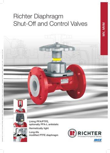 Diaphragm shut-off and control valves