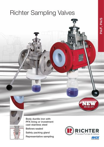 Sampling valves PA/F, PA/S