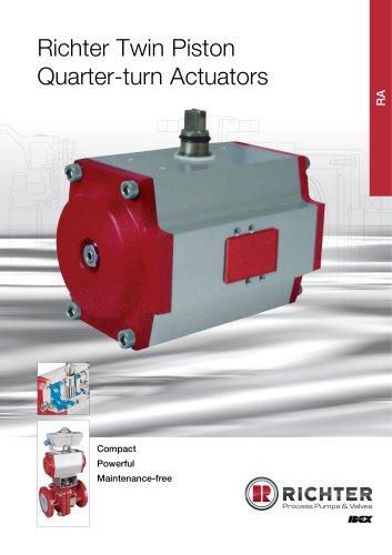 Twin piston quarter-turn actuators