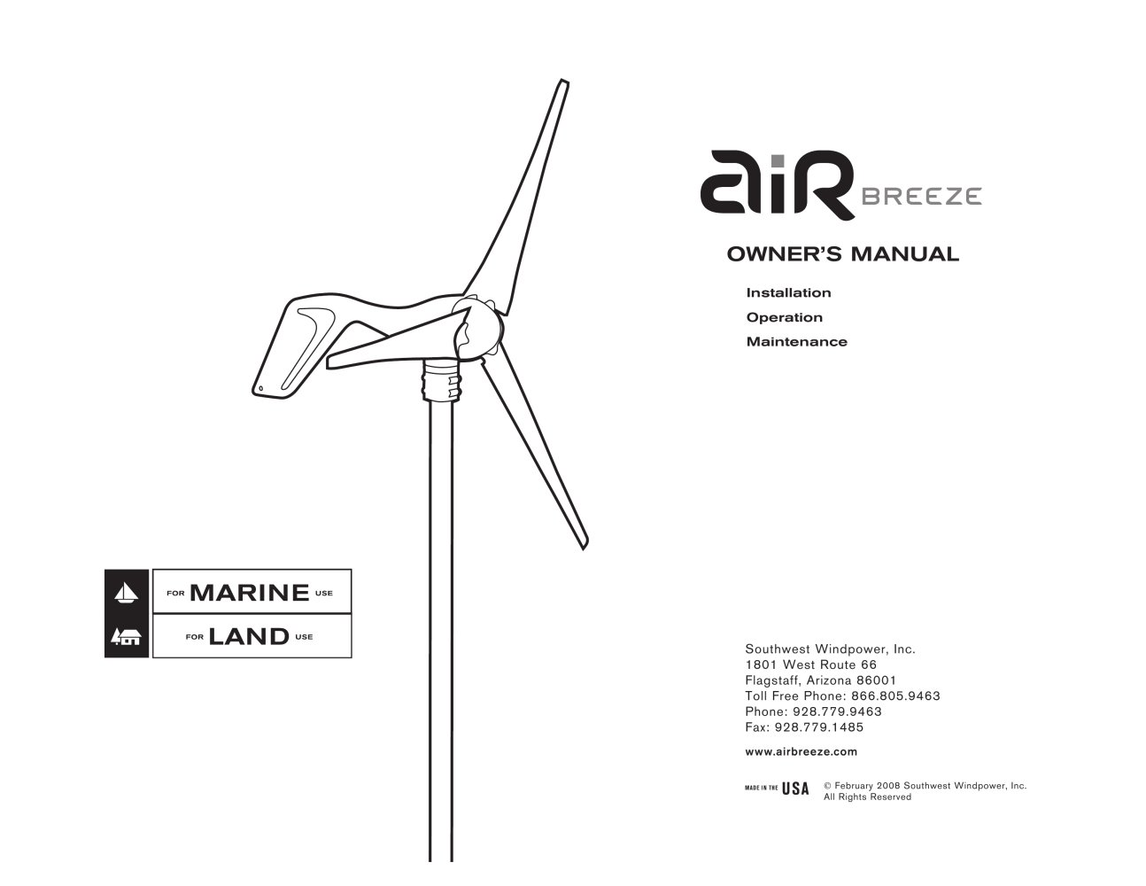 Air Breeze Land Marine Owners Manual Southwest Windpower Pdf Wind Generator Wire Diagram 1 32 Pages