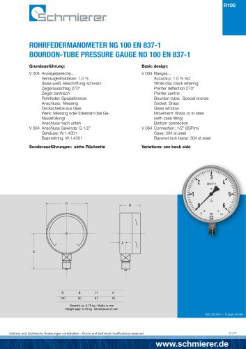 Bourdon Tube Pressure Gauge Brass Connection