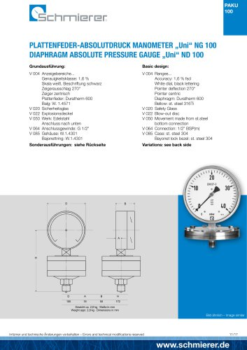 "DIAPHRAGM ABSOLUTE PRESSURE GAUGE ""Uni"" ND 100"