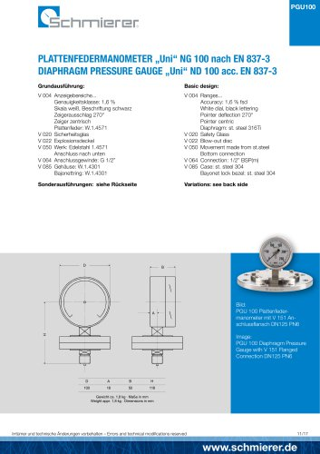 "DIAPHRAGM PRESSURE GAUGE ""Uni"" ND 100 acc. EN 837-3"