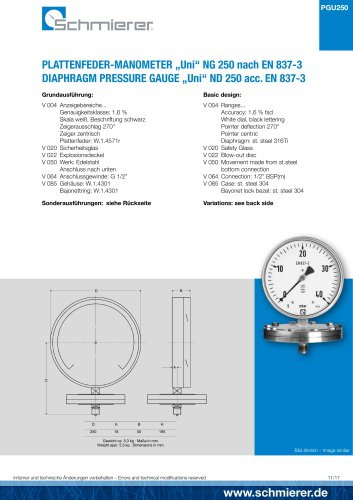 "DIAPHRAGM PRESSURE GAUGE ""Uni"" ND 250 acc. EN 837-3"