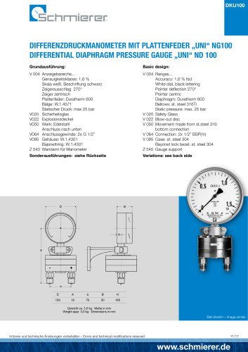 "DIFFERENTIAL DIAPHRAGM PRESSURE GAUGE ""UNI"" ND 100"
