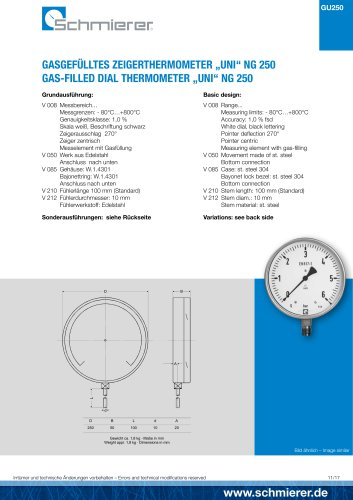 "GAS-FILLED DIAL THERMOMETER ""UNI"" NG 250"