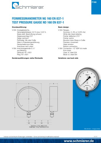 TEST PRESSURE GAUGE ND 160 EN 837-1