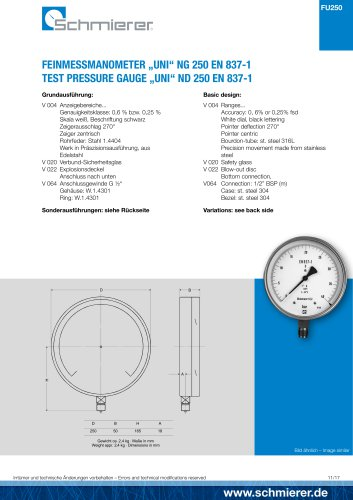 "TEST PRESSURE GAUGE ""UNI"" ND 250 EN 837-1"