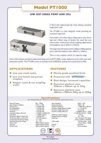 Model PT1000 LOW COST SINGLE POINT LOAD CELL