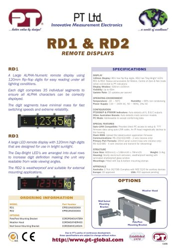RD1 & RD2 REMOTE DISPLAYS