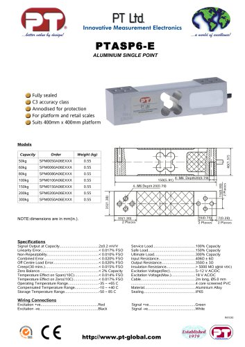 Single Point Load Cells-Aluminium, Low Cost, 400x400mm platform. PTASP6-E