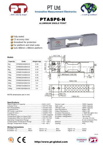 Single Point Load Cells-Aluminium, Low Cost, 400x400mm platform PTASP6-N