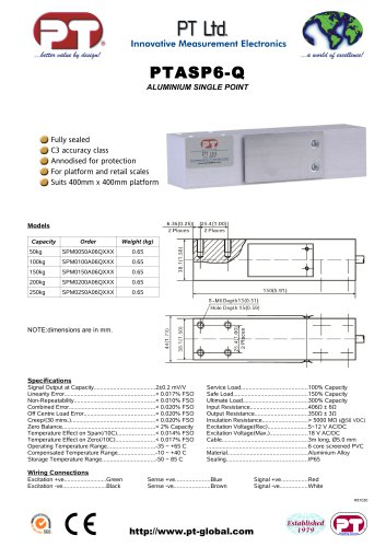 Single Point Load Cells-Aluminium, Low Cost, 400x400mm platform PTASP6-Q