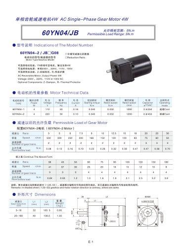 60YN series AC single-phase spur gear motor