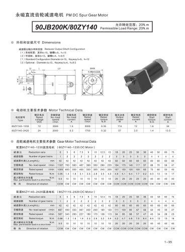 DYD-DC Parallel Shaft Gear Motor-90JB200K/80ZY140