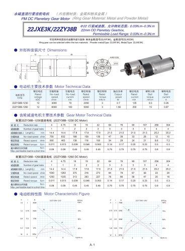 DYD-DC Planetary Gear Motor 16mm~45mm-22JXE3K/22ZY38B
