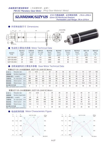 DYD-DC Planetary Gear Motor 52mm~120mm-52JXM200K/52ZY125