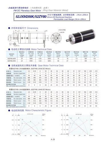 DYD-DC Planetary Gear Motor 52mm~120mm-52JXM200K/52ZY80