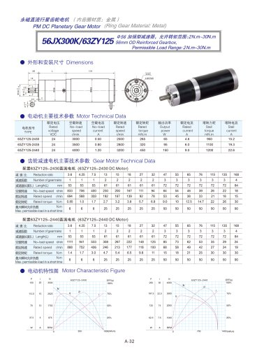 DYD-DC Planetary Gear Motor 52mm~120mm-56JX300K/63ZY125