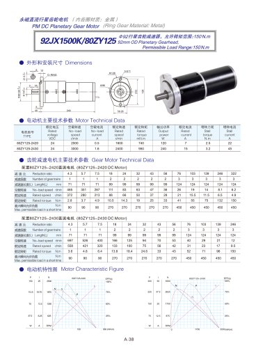 DYD-DC Planetary Gear Motor 52mm~120mm-92JX1500K/80ZY125