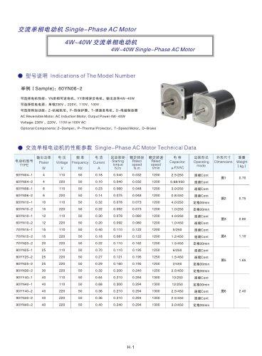 DYD MOTOR_4W ~ 40W Single Phase AC Motor