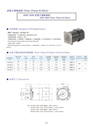 DYD MOTOR_60W ~ 120W Three Phase AC Motor