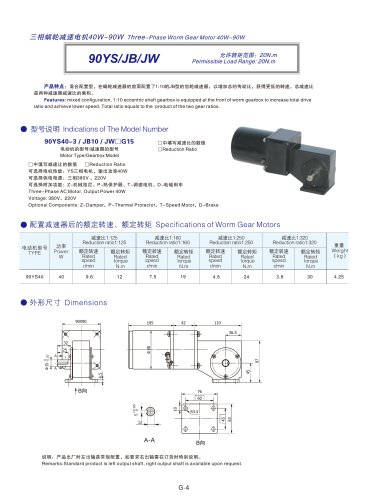DYD MOTOR_90YS/JB/JW Three Phase AC Gear Motor with Right Angle and Spur gearboxes