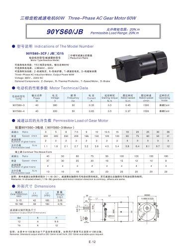 DYD MOTOR_90YS60/JB AC Three-phase Spur Gear Motor