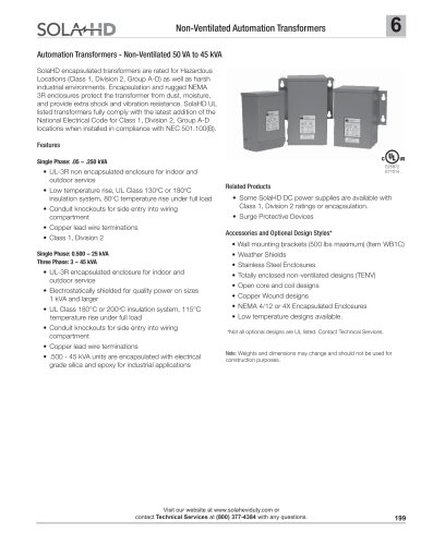 Automation Transformers  Non-ventilated 50 VA to 45 kVA