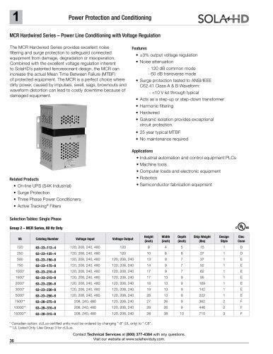MCR Hardwired - Power Line Conditioning with Voltage Regulation