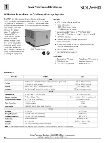 MCR Portable Series - Power Line Conditioning with Voltage Regulation