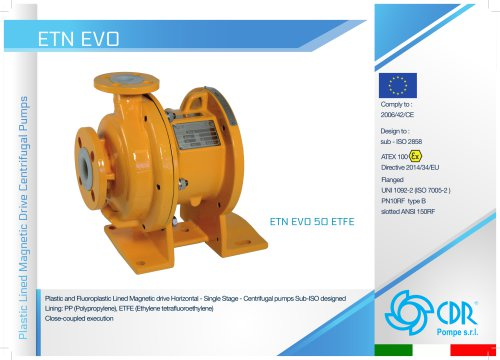 ETN EVO - Lined Magnetic Drive Pump