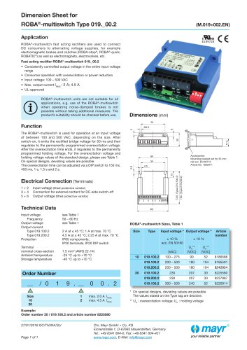 Dimension Sheet for  ROBA®-multiswitch Type 019._00.2