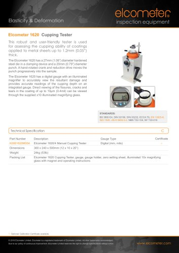 Elcometer 1620 - Cupping Tester