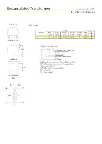 Encapsulated Transformers-EE20*10mm Series