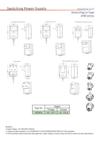 SMPS-24W Series Direct Plug-in Type EFS024